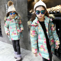 Teenager Girls Parkas Coat Winter Floral Kids Outerwear Autumn Fur Hooded Clothes Thick Infants Overcoat Children Coats C065