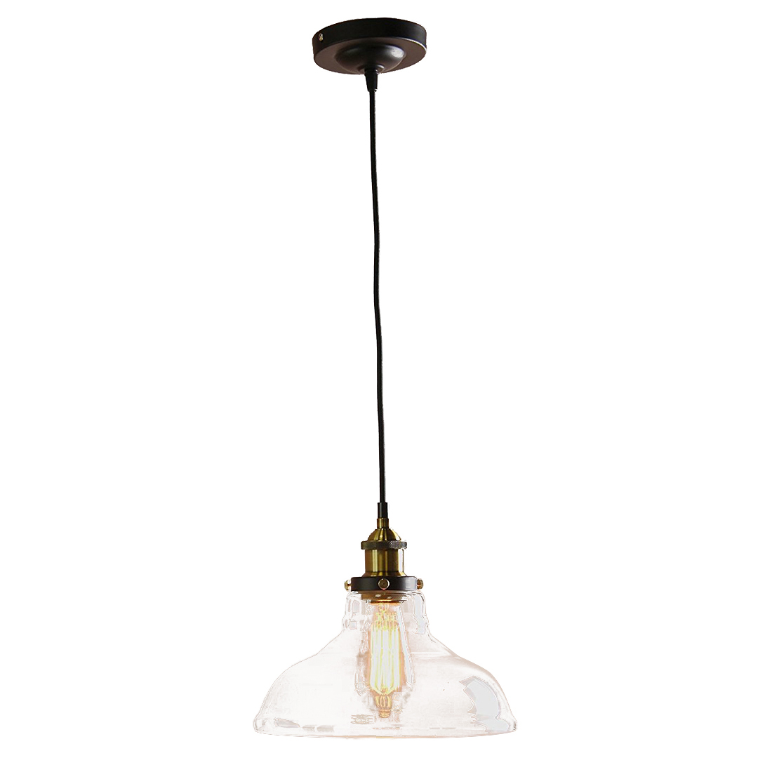Modern Vintage Amber Industrial 1 Light Iron Body Glass Shade Loft Coffee Bar Kitchen cover Chandeliers Hanging Pendant Lamp