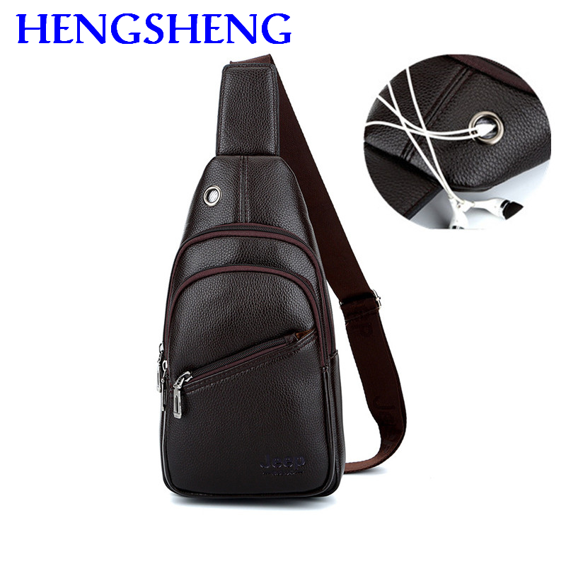 Hengsheng Newly Design Jeep Chest Bag With Fashion Usb Men Chest Bag By Quality Pu Leather Men Shoulder Bag Men Crossbody Bags ...