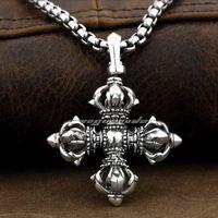925 Sterling Silver Large Tibet Tibetan Vajra Dorje Mens Biker Pendant 9F002 Necklace 24inch