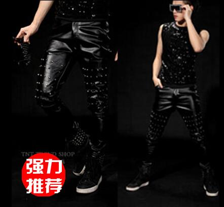 Stage personality men pants punk rivet harem pant men feet trousers singer dance rock fashion street star style novelty black