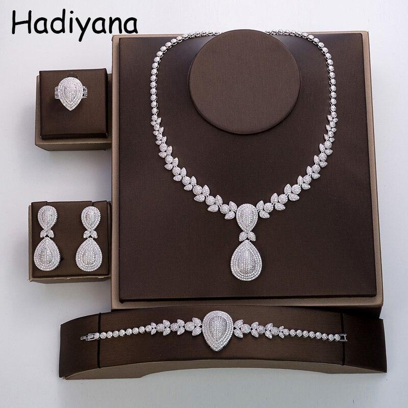 Hadiyana Shiny Fashion Water Drop Design Cubic Zircon 4 Piece Necklace Jewelry Wedding Engagement Bridal Jewelry TZ8043
