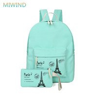 MIWIND Newest 2016 Canvas Tower Printing Backpack Women 2pcs Set School Bags For Teenage Girls Cute