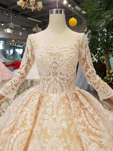 Image 4 - LS11003 champagne lace wedding dresses 2020 square neck see through long sleeves sexy v back wedding gown with shiny long train