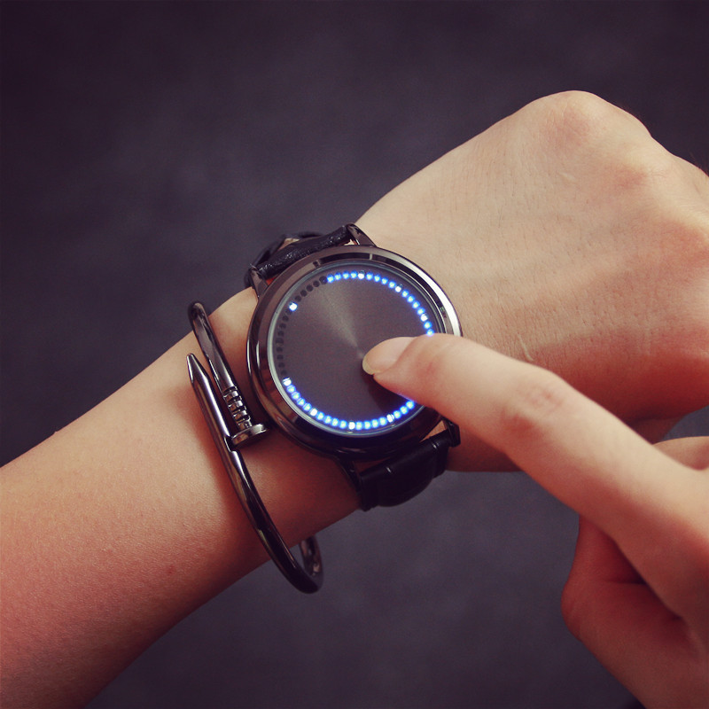 Legal árvore led tela de toque aço escudo relógios bgg pulseira couro genuíno relógio digital amantes relógio de pulso presente para homem menino relógio