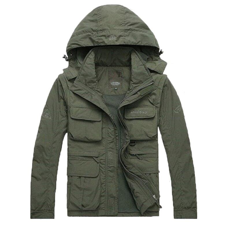 Мужская куртка с длинным рукавом и капюшоном, водонепроницаемая, дышащая, со съемными карманами, 2018|Парки|   | АлиЭкспресс