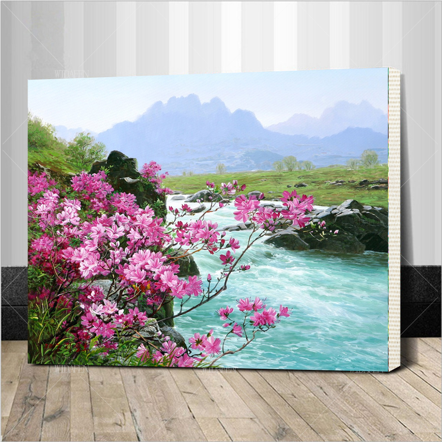 Framed River Landscape DIY Digital Painting By Numbers Kits Hand Painted Oil Unique Gift For Living Room Decoratio