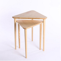 Set Of 2 Pieces Ash Wood End Tables Living Room Coffee Tables