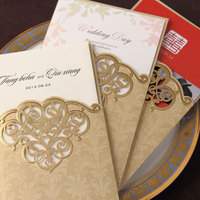 Free Shipping 50sets Lot CW2002 Gold Cover Wedding Invitation Cards Printable And Customize Free Wedding Suppliers