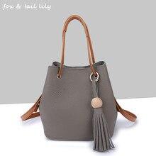FOXTAIL&LILY Genuine leather Handbags for Woman Fashion tassel Drawstring Bucket bag Shoulder Bags Messenger Bag Crossbody Bags