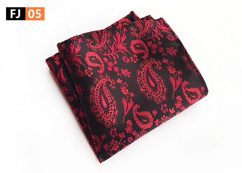 25x25cm Big Size Men Woven Pocket Square Black With Red Classic Paisley