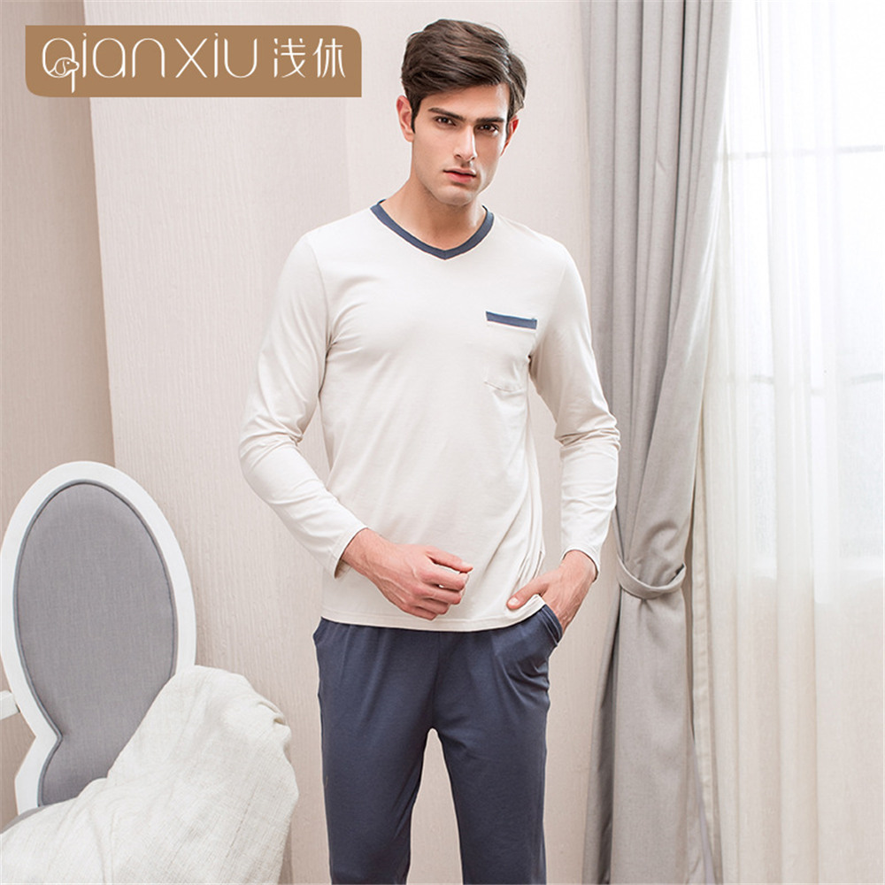 Qianxiu 2019 Men s Pajamas Cotton Spring Autumn Male Pyjama Home Pijama Sleepwear Long Sleeve O