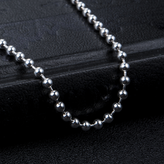 "wholesale 100% 925 silver DIY necklace Ball Bead Chain for Necklaces Keychains men women jewelry accessories 20""22""24""26""28′"