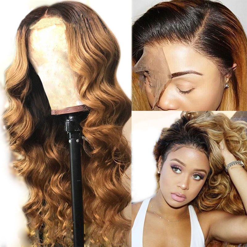 Simbeauty 1B 27 Color Honey Blonde Full Lace  Wig Brazilian Body Wave Remy Ombre Human Hair Wigs Pre Plucked Bleached Knots