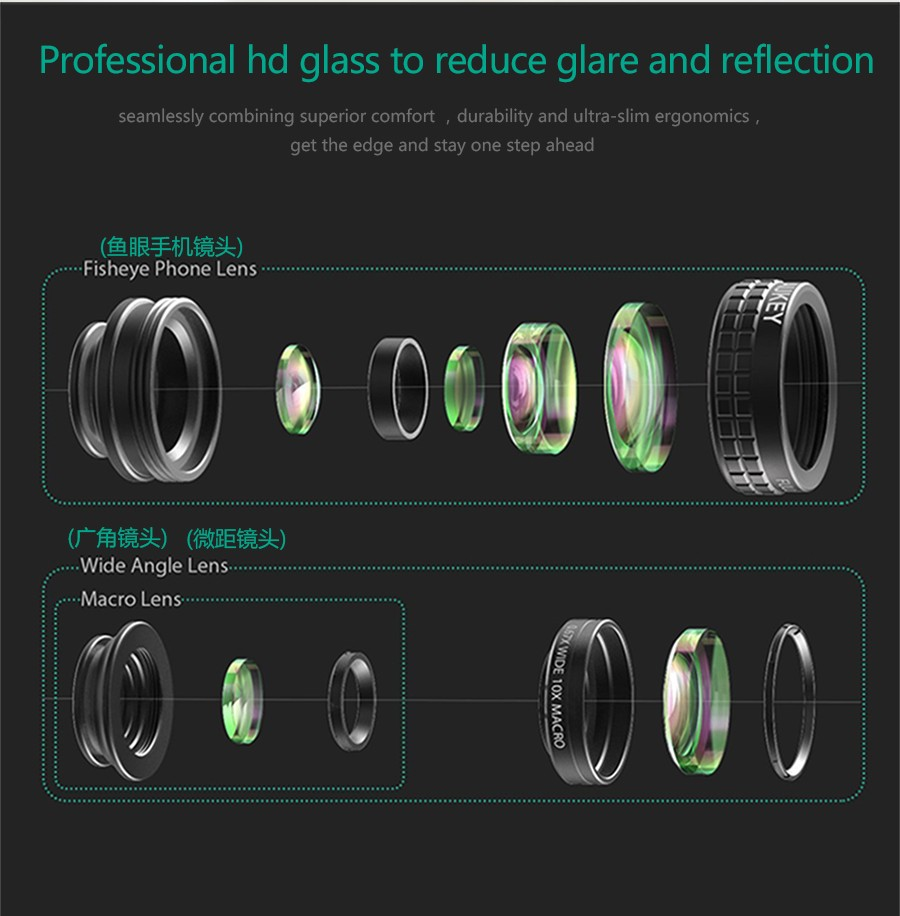 AUKEY Fish eye Lens 3in 1 Clip-on Cell Phone Camera 180 Degree Fisheye Lens+Wide Angle+Macro Lens for iPhone 7Plus Xiaomi & More 12