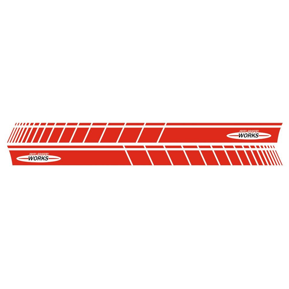 Автомобильный стиль, дверь, боковая полоса, юбка, наклейка, графическая наклейка для Mini Cooper Coupe R58 R57 F57 R59 Roadster R56 F56 JCW, аксессуары - Название цвета: Gloss Red