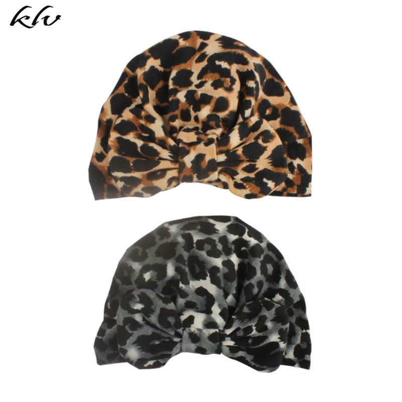 New Fashion Baby Hat Kids Bow Knot Leopard Cap Children Headgear Newborn Photography Props Headdress