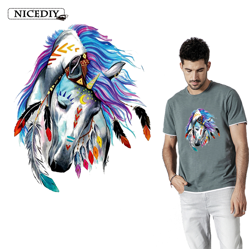 Nicediy Fashion Colorful Animal Patch Iron on Transfers for Clothing Diy T-shirt Vinyl Applique Clothes Stickers Washable DIY