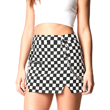Streetwear Checkerboard Plaid Skirt with Chain Women Micro Skirt Side Split Girls Fashion Plaid Pencil Mini Skirt High Waist