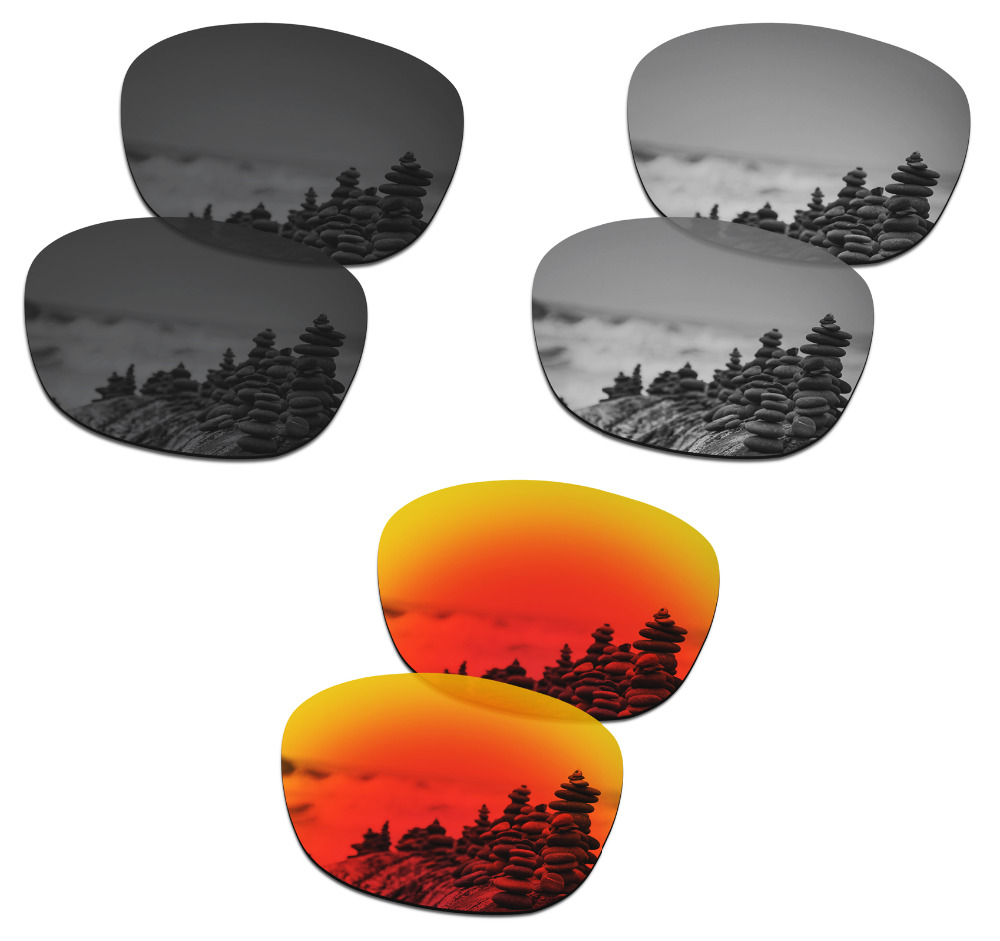 SmartVLT 3 Pairs Polarized Sunglasses Replacement Lenses for Oakley Drop In Stealth Black and Silver Titanium and Fire Red