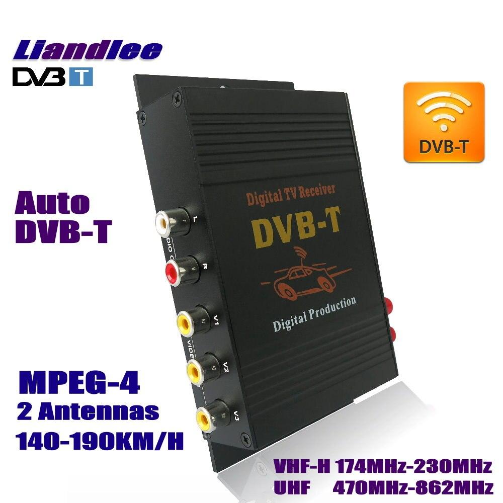 Liandlee Car Digital TV DVB-T Receiver HD MPEG-4 CVBS D-TV Mobile TV Turner Converter Box Double Antenna / Model DVB-T-M-618 car four tuner way single antenna dvb t mpeg 4 external digital mobile tv receiver