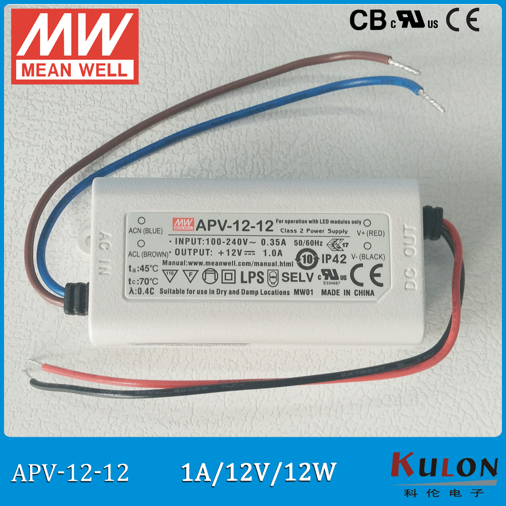 Original Meanwell 12V led driver APV-12-12 12W 12V 1A IP42 mean well Power Supply UL CB CE EMC original meanwell led driver apc 16 700 16 8w 9 24v 700ma led power supply constant current mean well apc 16 ip42