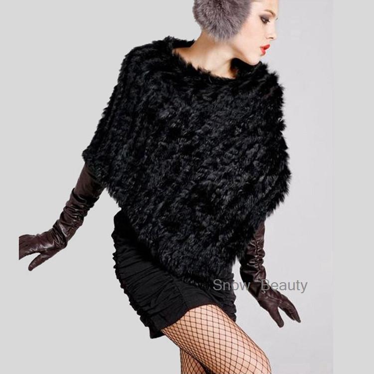 natural real knitted rabbit fur poncho shawl (7)