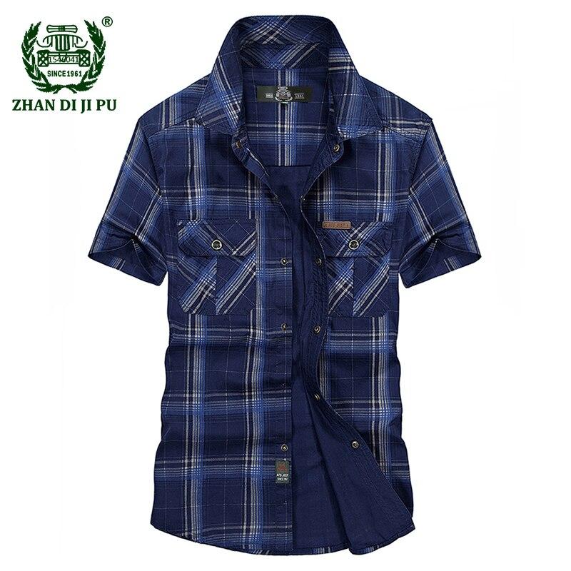 Grande Taille de 2018 D'été hommes casual marque armée vert plaid court chemise homme 100% pur coton afs jeep kaki grille chemises bleu tops