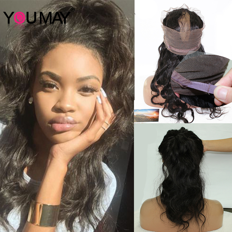 360 lace frontal closure with adjustable straps body wave