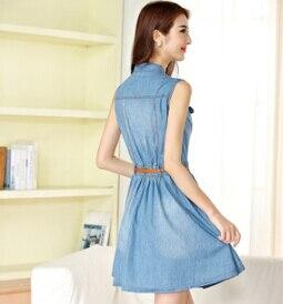 177edf6ee73 2015 New Girls Summer Dress Sleeveless Elegant Bodycon Short Thin Jeans  Fashion Button Vintage Denim Dress Light Blue -in Dresses from Women s  Clothing on ...