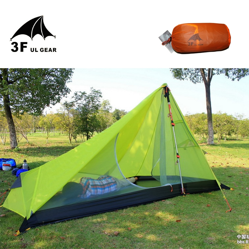 0.65KG 3F UL Gear Rodless Tent Ultralight 15D Silicone Single Person Camping Tent 1 Person 3 Season With Footprint 3Colors 995g camping inner tent ultralight 3 4 person outdoor 20d nylon sides silicon coating rodless pyramid large tent campin 3 season