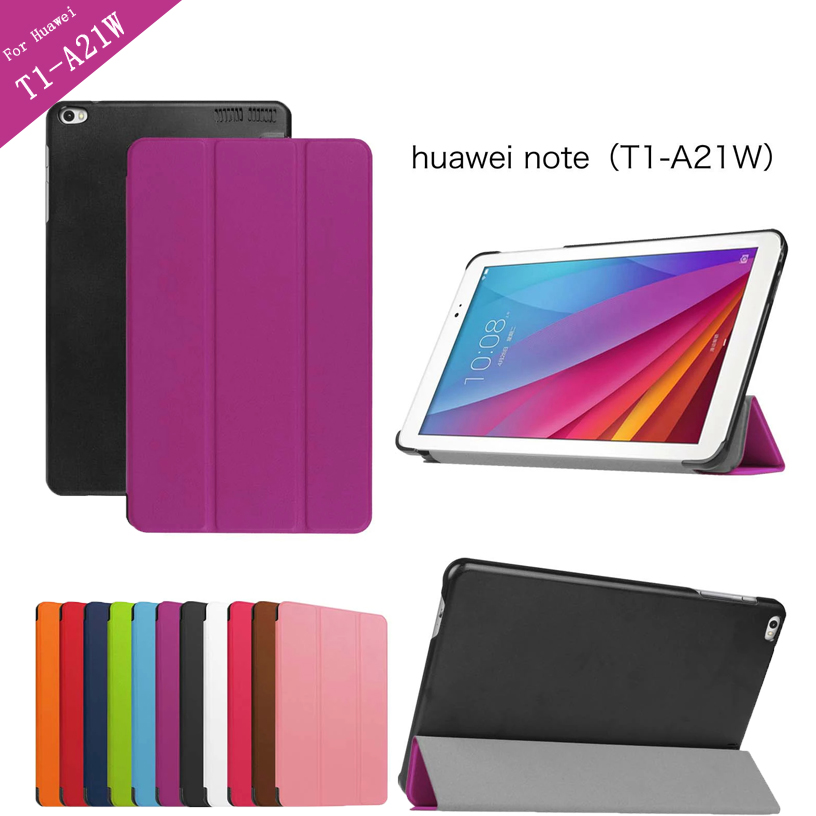 Tri-folding Flip PU Leather Case For Huawei T1 10 T1-A21W Tablet Case for Huawei MediaPad T1 T1-A21L T1-A23L Honor Note cover sir472dp t1 ge3 r472