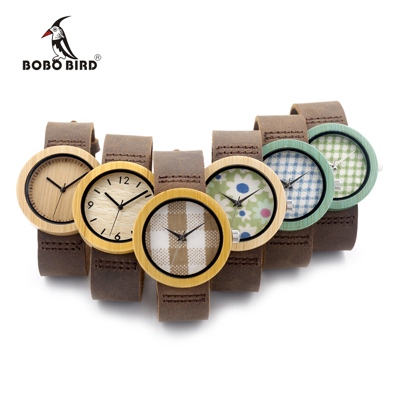 BOBO BIRD D18 1 6 Wooden Bamboo Watch with Genuine Brown Leather Strap Quartz Analog High