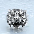 De aço soldado do punk personalidade anel de aço inoxidável para homens bons detalhes jóia animal do tigre para homens