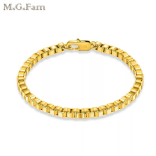 MGFam (19cm*4 mm) Boxes Bracelet Jewelry For Men Stamp 18 k Yellow Gold Color Lead and Nickel Free
