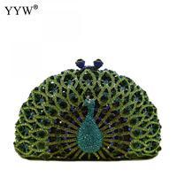 Fashion Peacock Tail Luxury Evening Clutch Diamonds Clutch Rhinestone Wedding Designer Women Mini Party Chain Crossbody Bag 2018