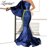 Blue Velvet One Shoulder Formal Evening Dresses 2019 Custom Mermaid African Arabic Middle East Women Party Gown Robe De Soiree