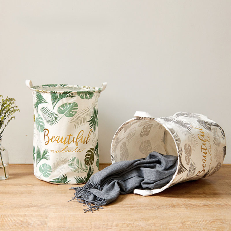 Stylish Storage Basket Cotton Fabric Washable Cylindric Laundry Hamper With Handles Decorative Convenient For Bathroom