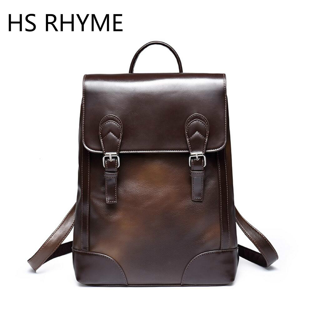 HS RHYME Vintage PU Leather Backpack Retro Men's College School Bags Simple Design Solid Rucksacks