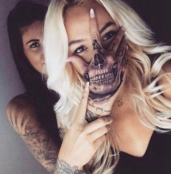 Temporary Tatoo Waterproof Hand Fake Tattoo Sticker Skull Head Tooth Halloween Tattoos Tatouage Tatto For Men Women Girl Adult