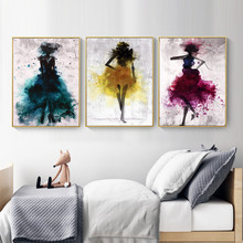 HAOCHU Canvas Art Print Decoration Painting Blue Yellow Fuchsia 3 Sets Abstract Women Watercolor Impression Wall Picture Mural