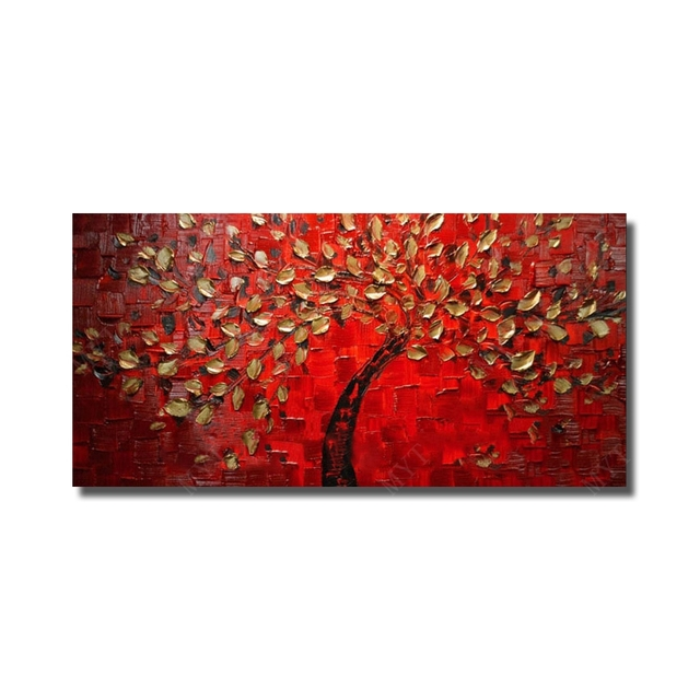 Red background hand painted canvas oil paintings abstract beautiful flower tree modern living room wall decor