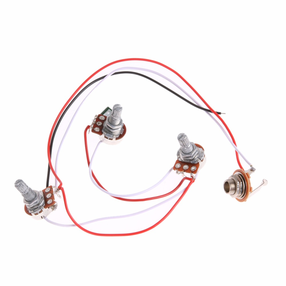 1 Set Wiring Harness Prewired 2v1t1j For Jb Bass Guitar With 3 500k Of Strat 5 Way Blade Switch Full Size Pots Cable Switchcraft Jack In Parts Accessories From