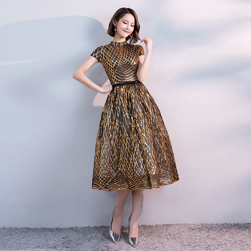 FADISTEE new arrival party prom dress Vestido de Festa high neck evening  party gold pattern sequins cap sleeves short style -in Prom Dresses from  Weddings ... d23c801f6cbf