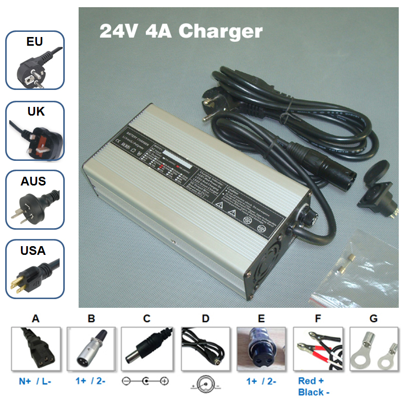 Lithium ion battery 24V 4A charger Output 29.4V 4A li-ion batteries charger For 24 V Lipo/LiMn2O4/LiCoO2 batteries charging 5v 1a lithium battery charging board charger module li ion led charging board