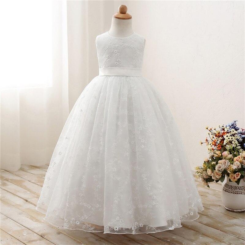 170f008aae34b90 Белый Кружевные Платья с цветочным узором для девочек для свадьбы,  выпускного Вечерние вечернее платье дети принцесса девушка Выпускной пл.