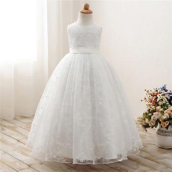 260300b38 Encaje blanco niña de las flores vestidos para boda fiesta evento Vestido  de niños princesa niña ceremonia de graduación Vestido 7 8 9