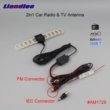 Liandlee 1PC 2IN1 Car TV Antenna Radio FM IEC Connecto With Amplifier Booster AM RDS DVB-T ISDB-T ATSC ANT #AM1728