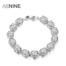AENINE Luxury Oval Shape AAA Cubic Zirconia Strand Multicolor Wedding Bracelets & Bangles Jewelry For Women Pulseras B150300766P