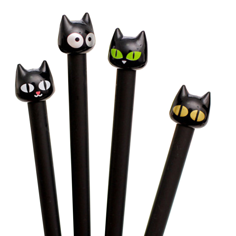 2 PCS Cute Fun Black Cat Gel Pen Kawaii Stationery Pens 0.5mm Material Office School Supplies Writting Pen